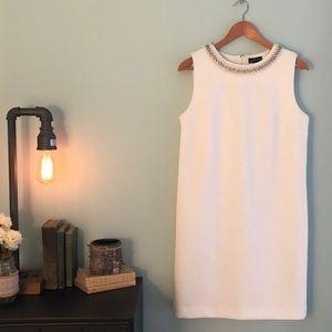 Adrianne Vittadini White Dress with Embellishment
